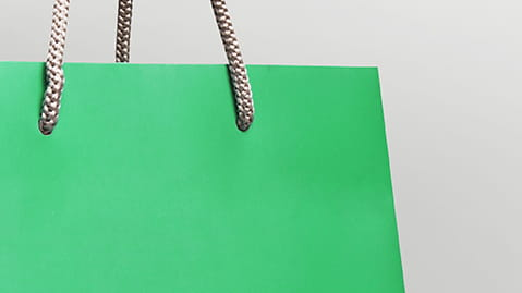 Green paper shopping bag