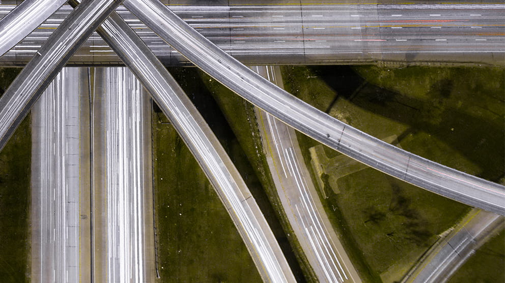 Aerial view of crisscrossing road junctions