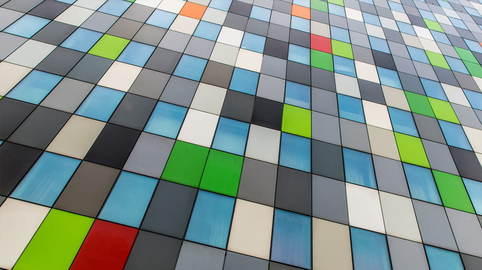Fragment of a multi colored glass facade