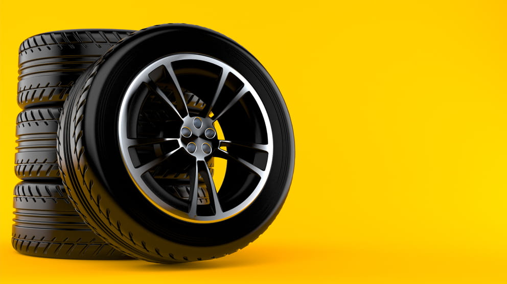 car wheel set on yellow background