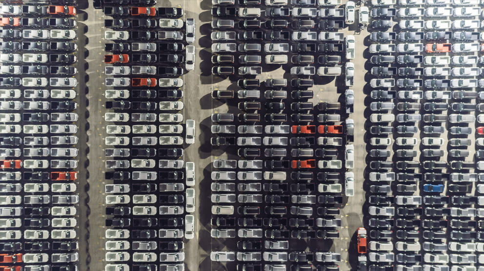 Aerial view of cars