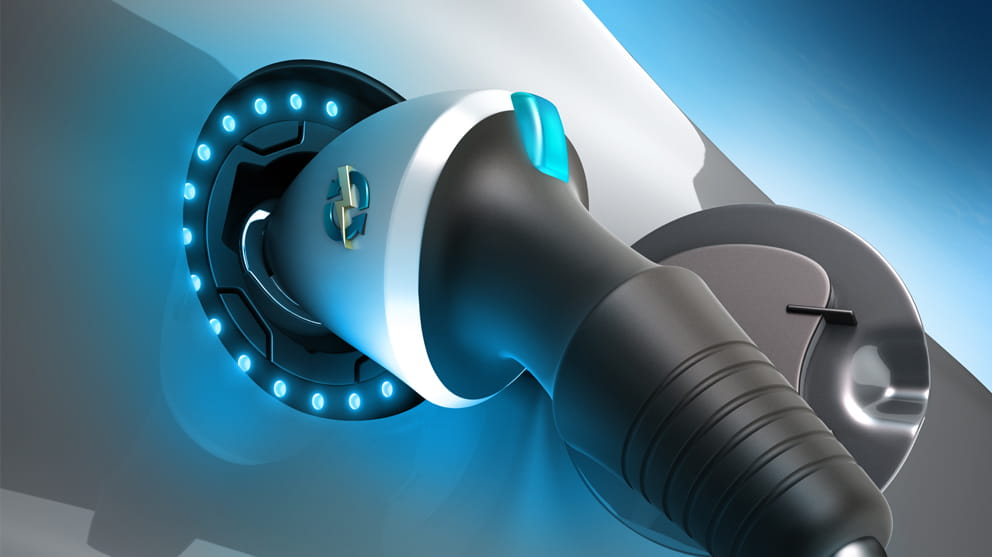 close up of an electric car plug while recharging