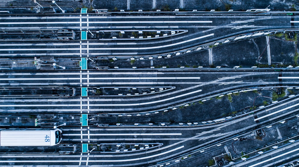 Aerial view of railroad tracks