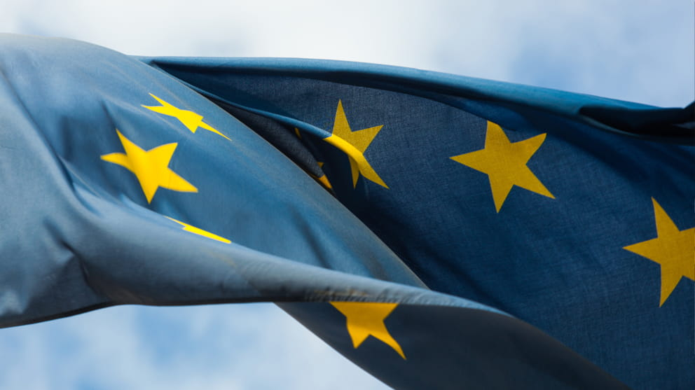 close up of EU flag