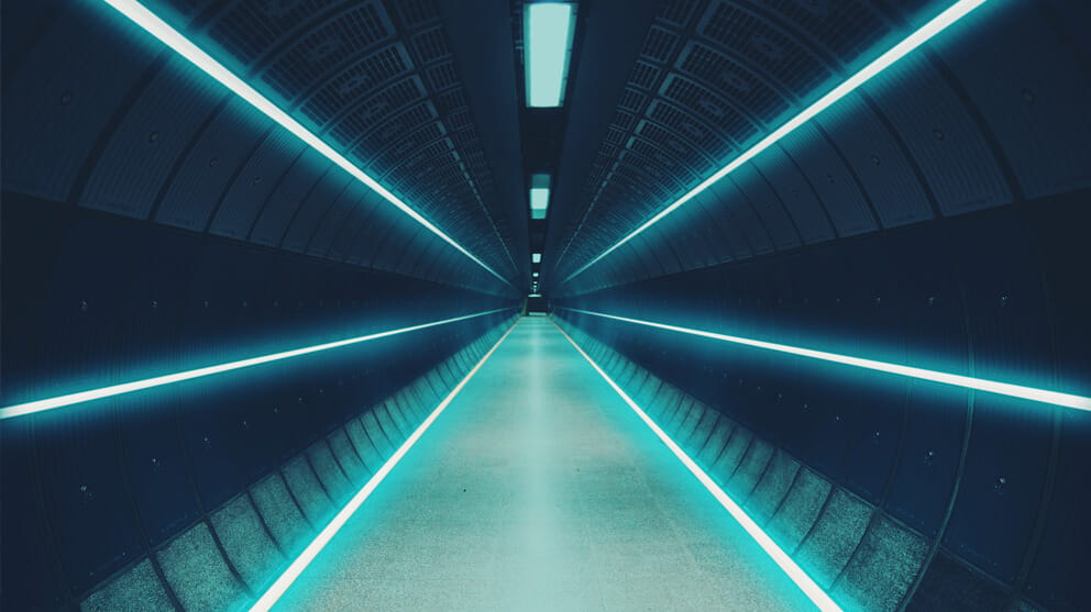 tunnel with vanishing point and neon lights