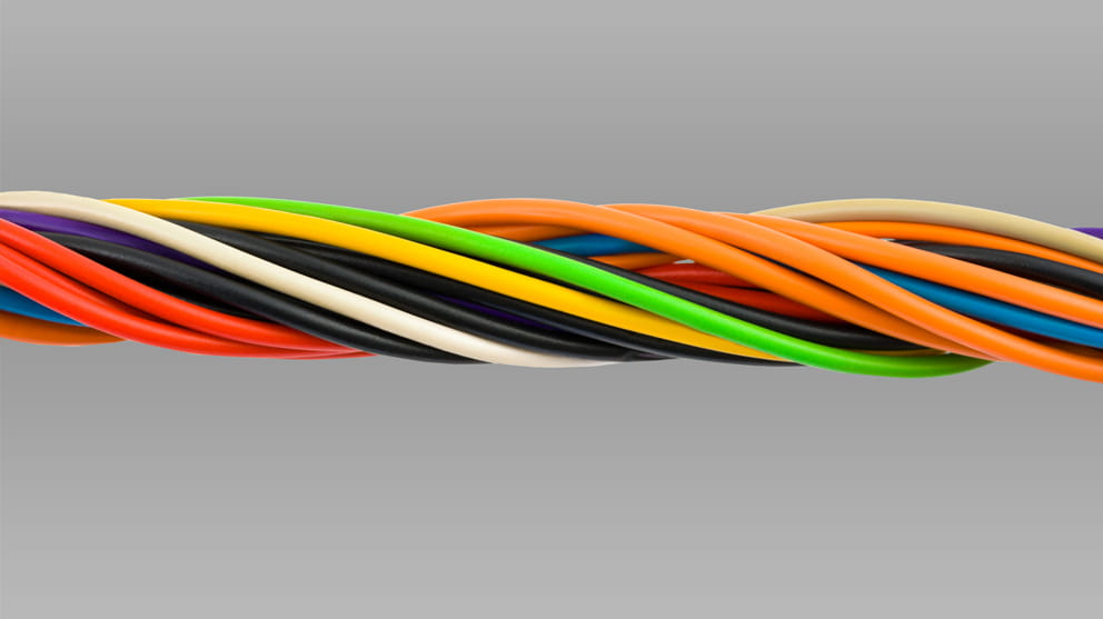 Colourful computer cable close-up