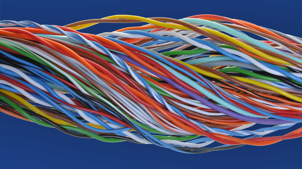 Colourful swirl cable close-up