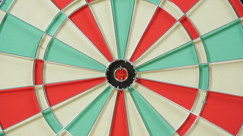 Close up view of red, green and white dart board