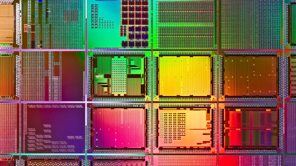 multi coloured computer wafer macrophotography