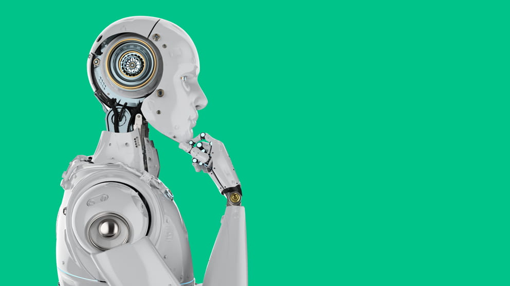 Humanoid robot thinking on green background