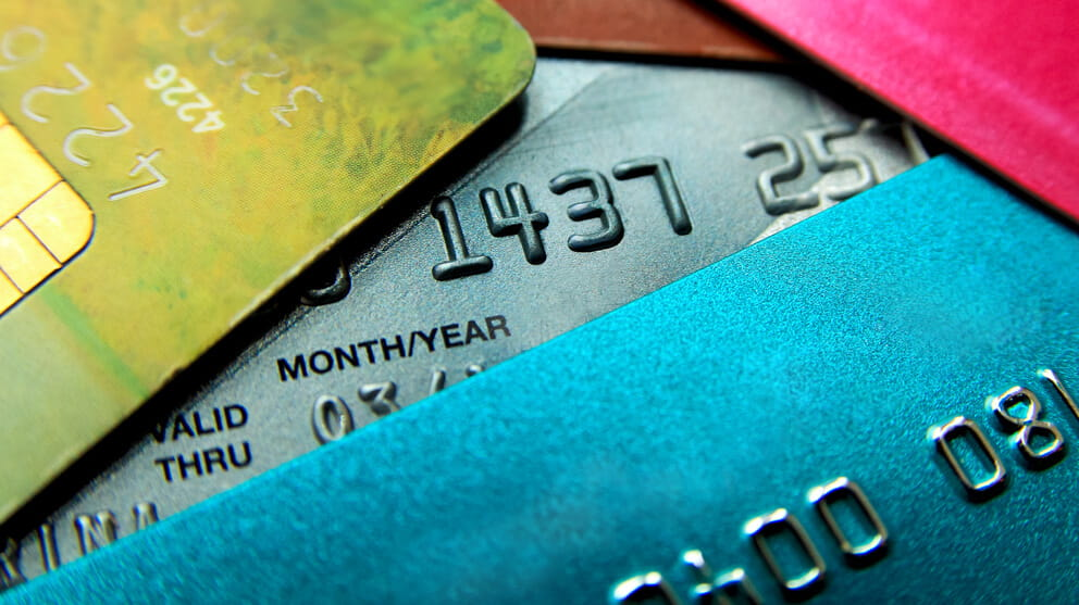 Multicolored credit cards close-up