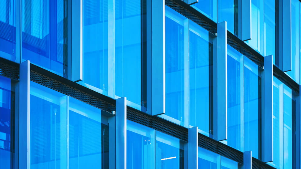Windows of modern futuristic blue glass