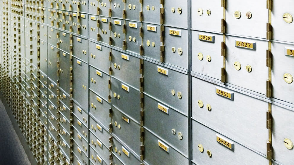 Safety Deposit boxes storage in a Bank vault