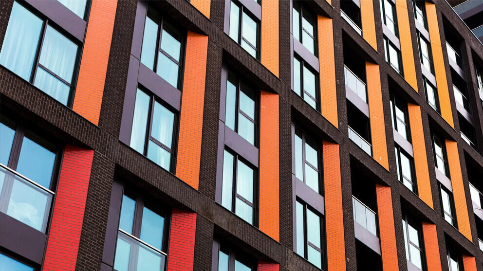 Detailed shot of multi-coloured modern architecture facade