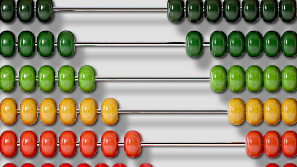 Different coloured abacus